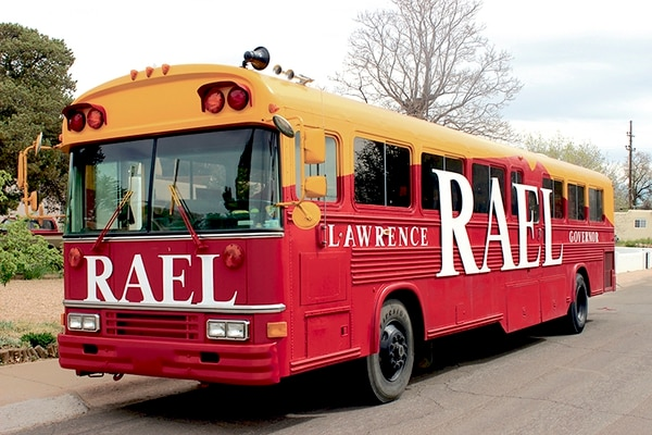 Rael uses this converted school bus for his ground game.