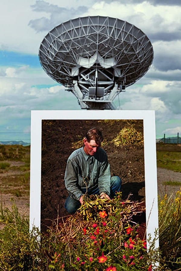 "Drooker's ""FSA @VLA"" shows the Very Large Array radio observatory with a Russell Lee photo of Bill Stagg, a homesteader."