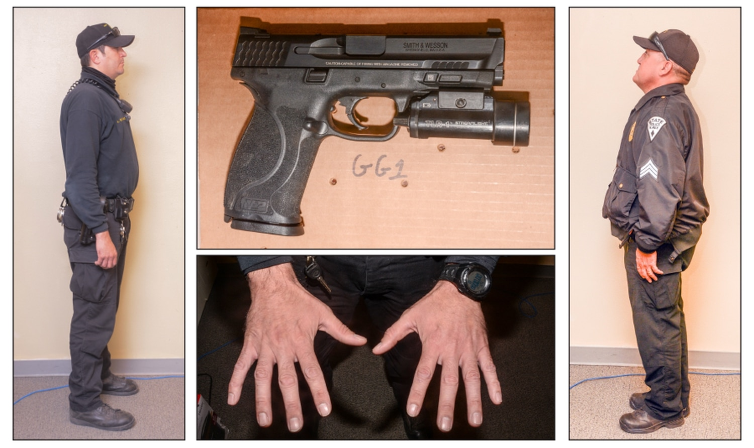 Photos collected by State Police after the shooting show Officer Gene Gonzales, at left, and Sgt. Robert Carrejo, at right. In the center is the handgun Gonzales used to fatally shoot Rodney Applewhite last November and a photo of Gonzales' hands.