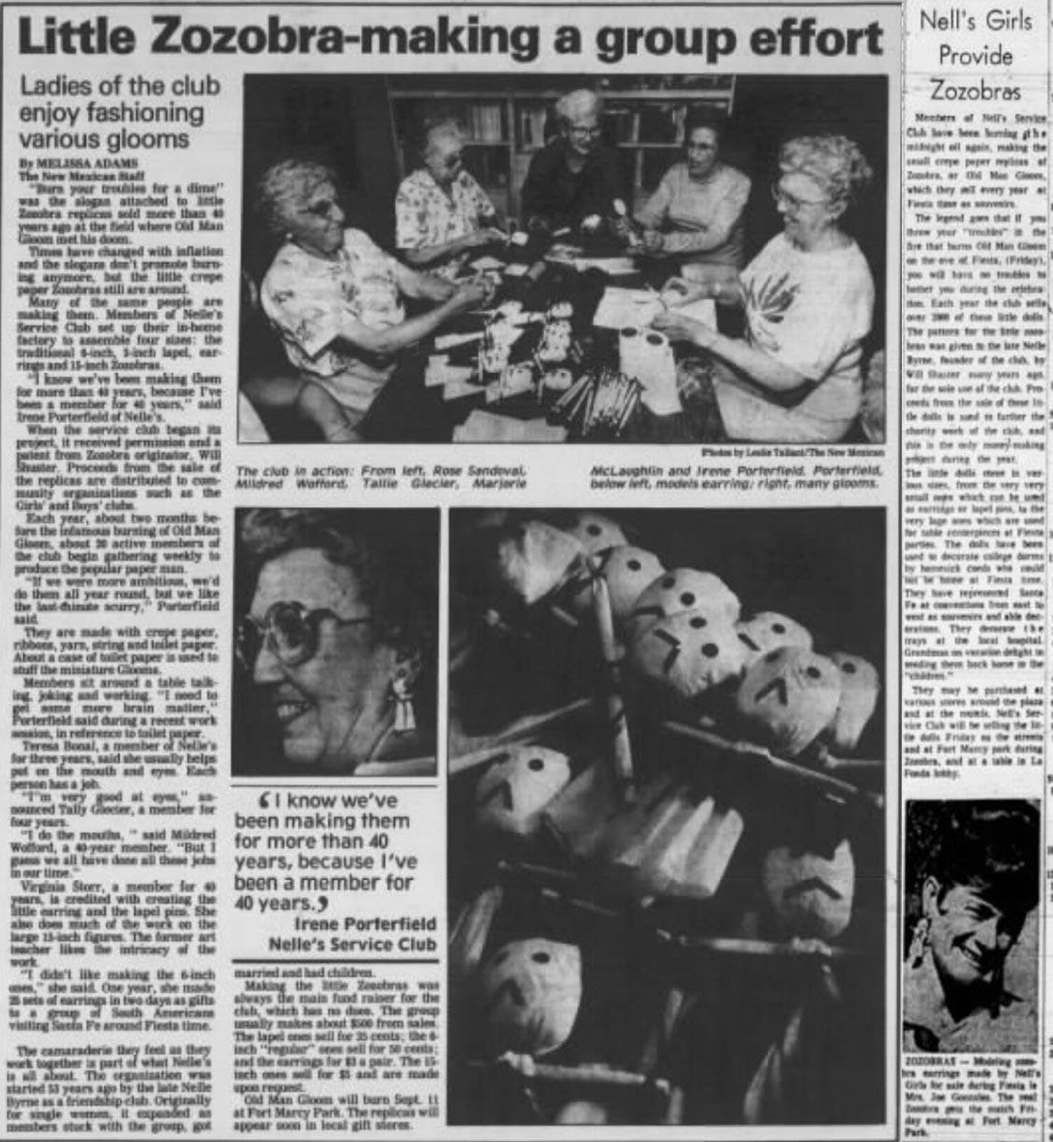 A 1967 article discusses Nell's Service Club's gloom-making endeavor. Courtesy Santa Fe Kiwanis