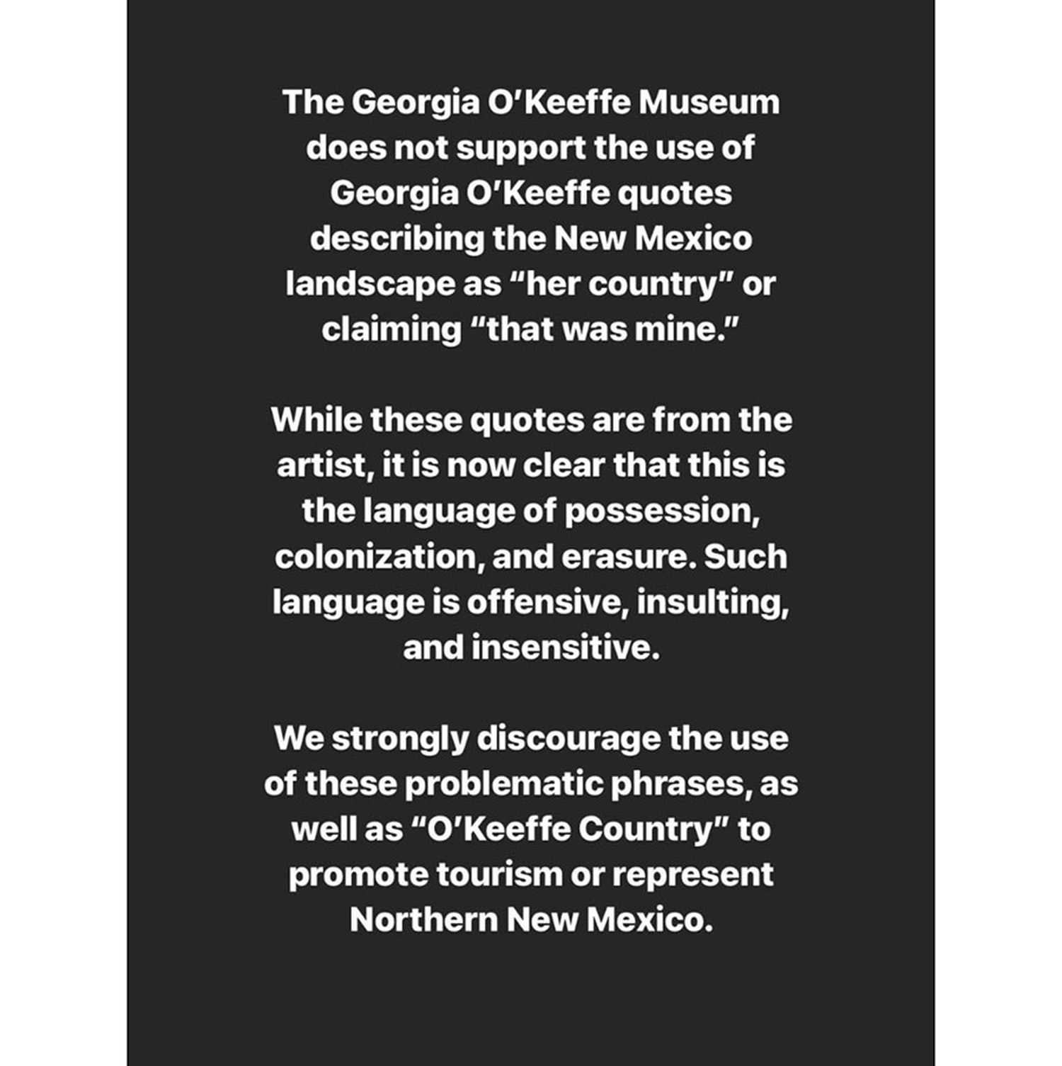 From the @okeeffemuseum Instagram account.