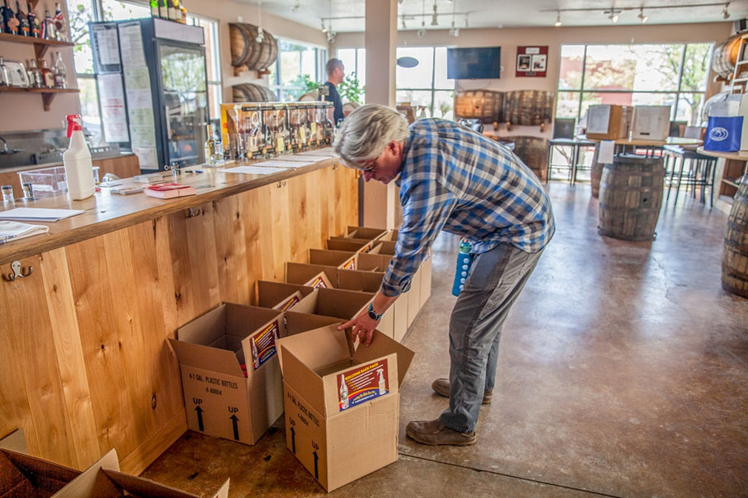"""Colin Keegan and the team at Santa Fe Spirits created """"Welcome Back"""" packs for reopening businesses that need hand sanitizers and disinfectants."""