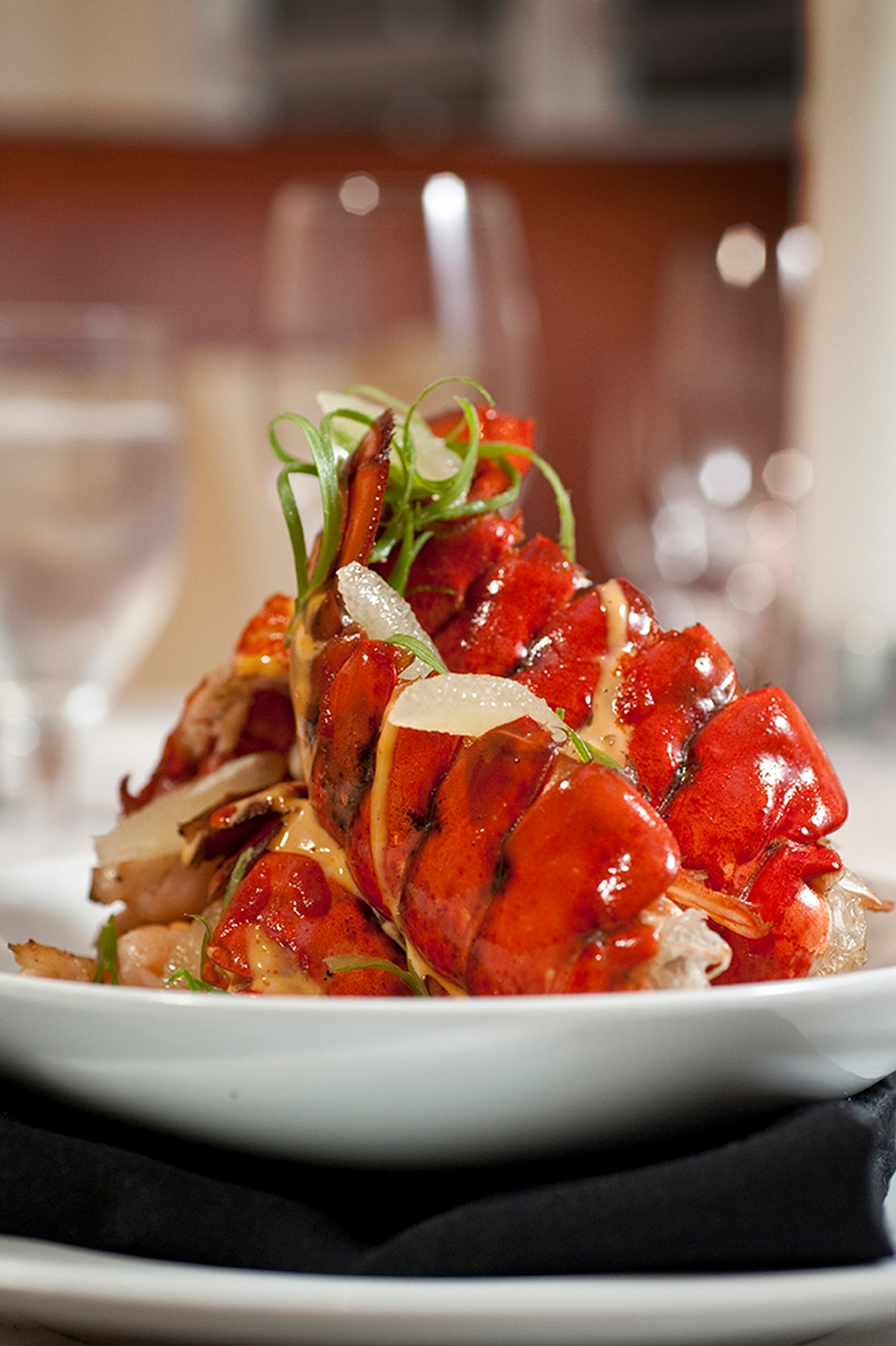 Mesquite-grilled Maine lobster tails with angel hair pasta