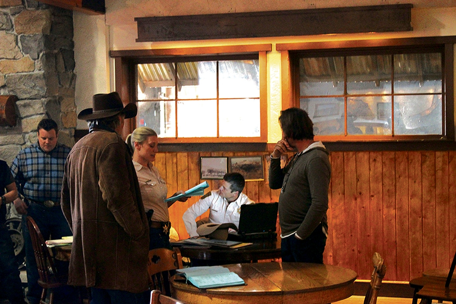 The posse: Walt Longmire and his deputies get ready to shoot a scene.