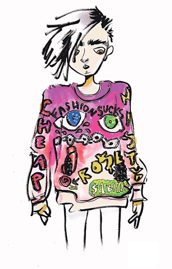 """""""FASHION SUCKS"""" tracksuit sweater by DI$COUNT UNIVER$E."""