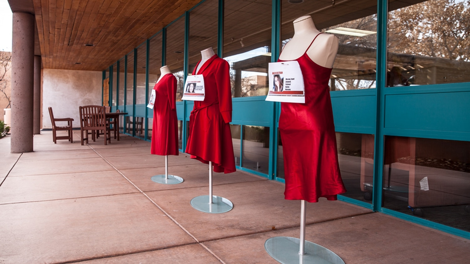 Red dresses featuring missing or murdered indigenous women.
