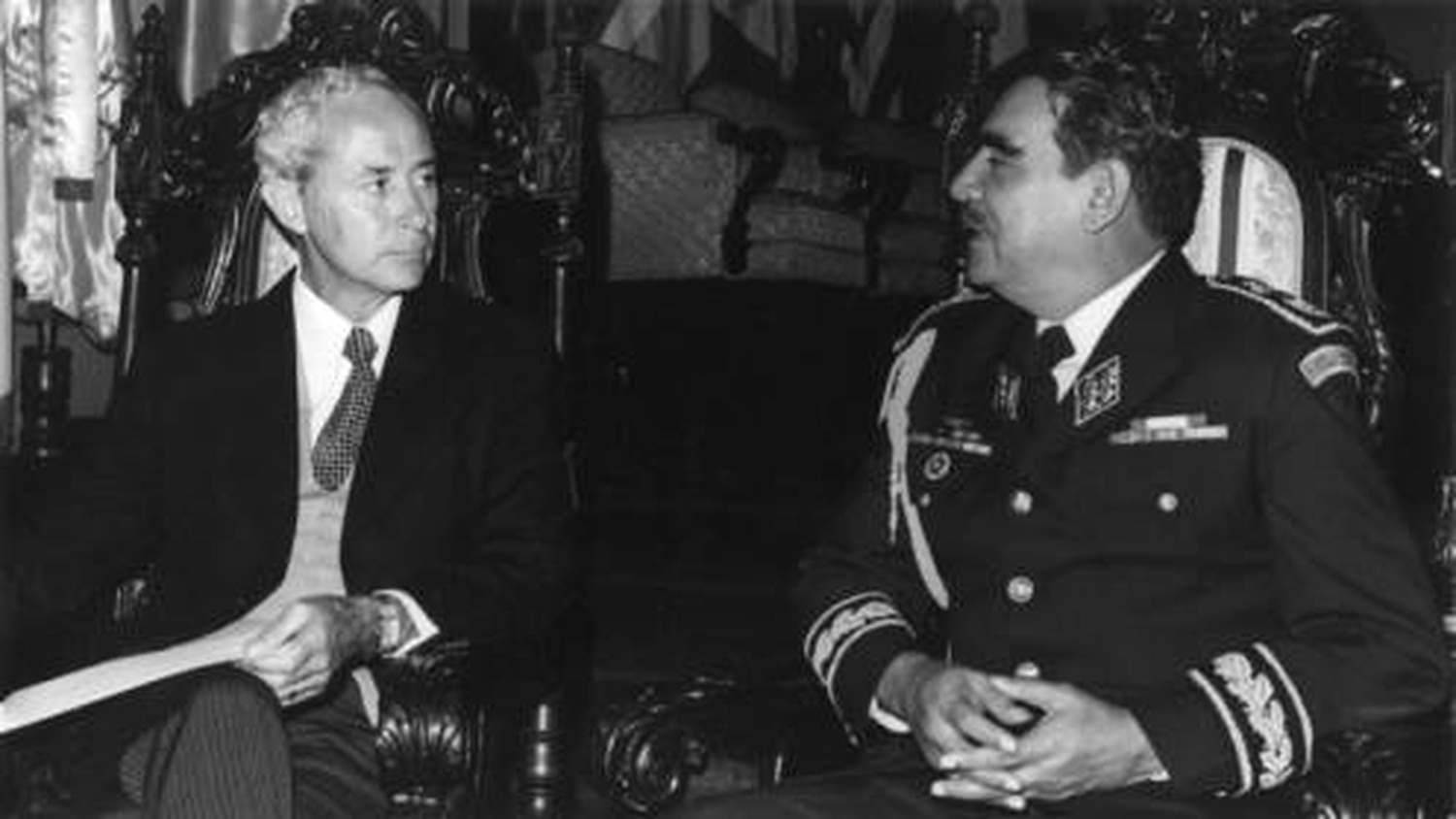 Ambassador Frank Ortiz from New Mexico meeting with Fernando Romeo Lucas García, who served as President of Guatemala from 1978-1982 and was decried for repressive and brutal leadership. Photo courtesy Palace of the Governors Photo Archive, Negative #HP.2008.18.3.