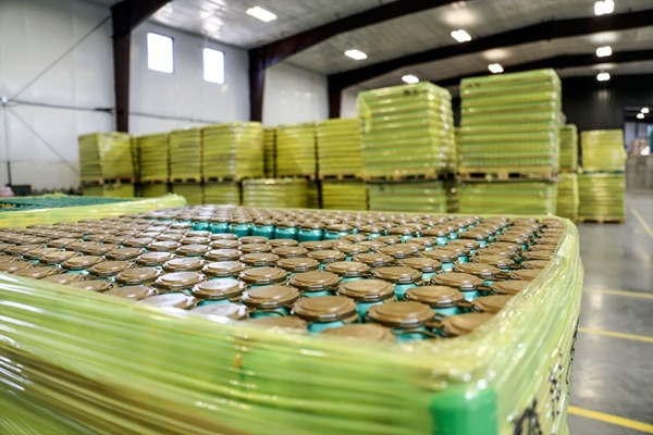 Thousands of Santa Fe Brewing Co. cans ready to ship.