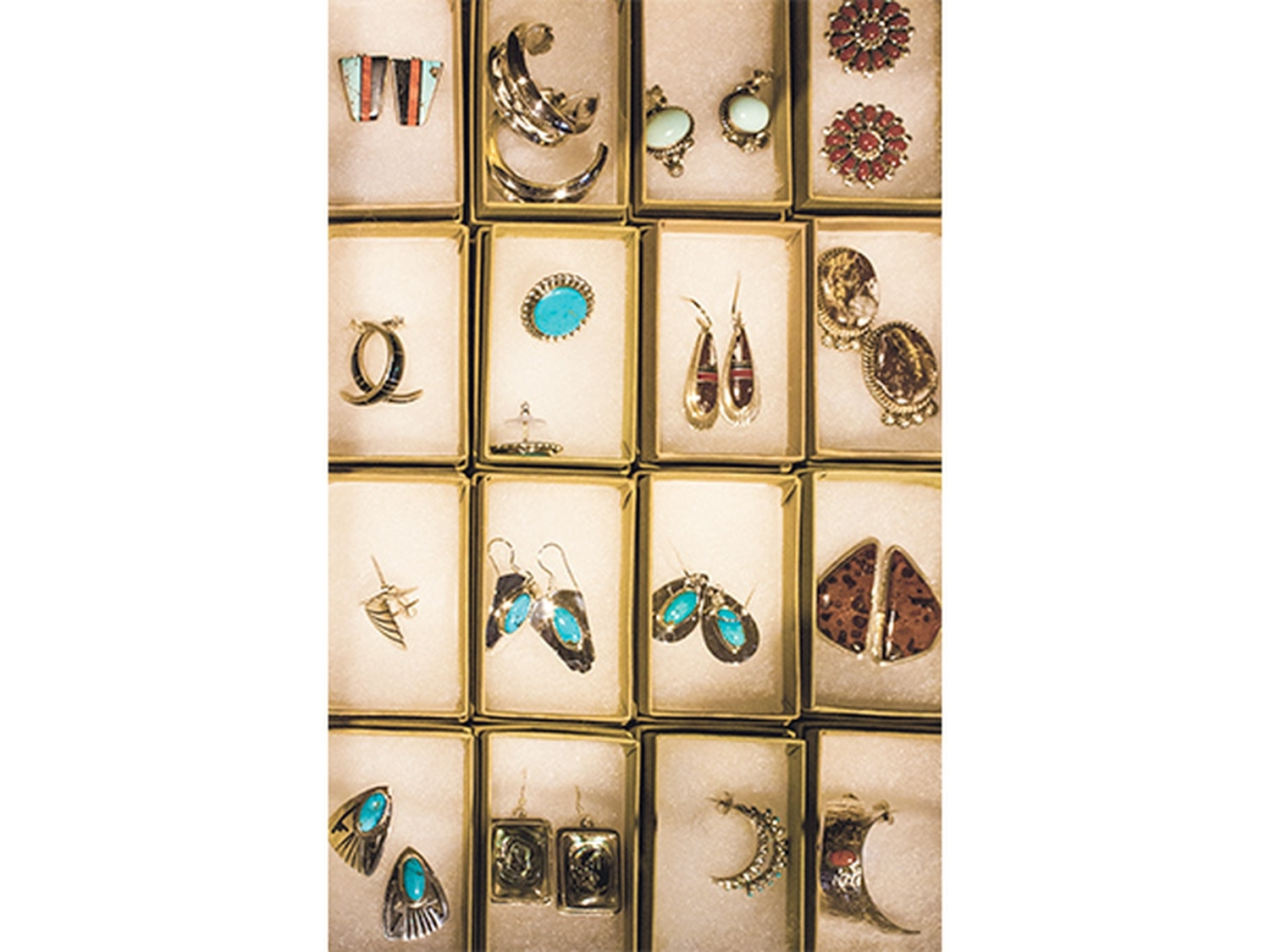 Showcased turquoise by Hopi, Navajo and Zuni tribes.