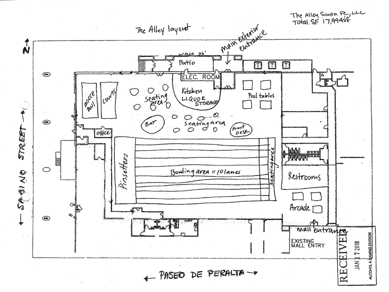 A layout of The Alley, included with the business' application for a liquor license.