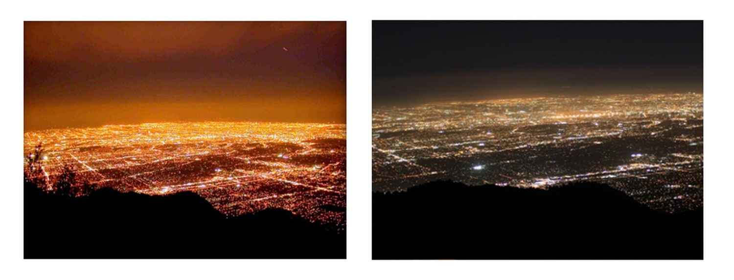 LEFT: Los Angeles in 2008, before the city transitioned to LEDs. RIGHT: Los Angeles 2012, after the transition.