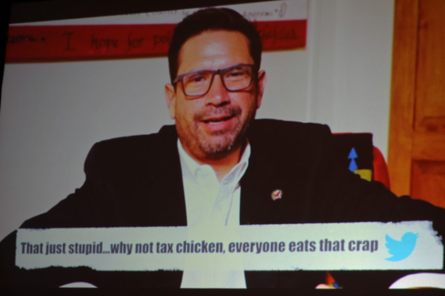Taking a page from late-night TV, Gonzales read 'mean tweets.'   Matt Grubs