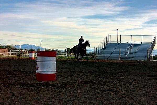 Barrel racer Nicky Larrabee doing what she does best.