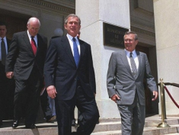 President George W Bush (center, with Secretary of Defense Donald Rumsfeld, right, and Vice President Dick Cheney) gave orders to invade Iraq—a decision that resulted in as many deaths as are attributed to bin Laden.