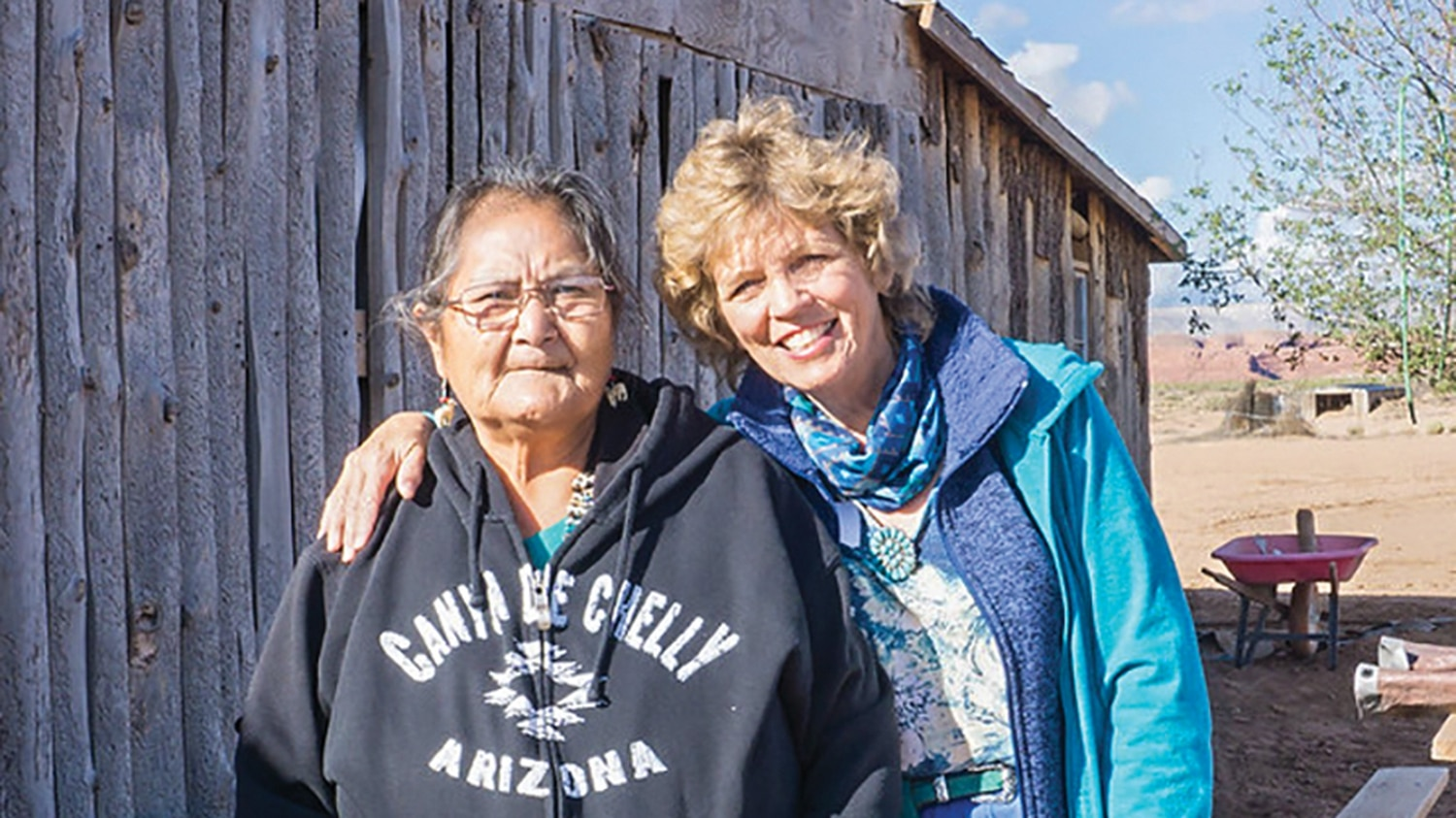 Many Farms coordinator Darlene Slivers and ANE founder and director Linda Myers.