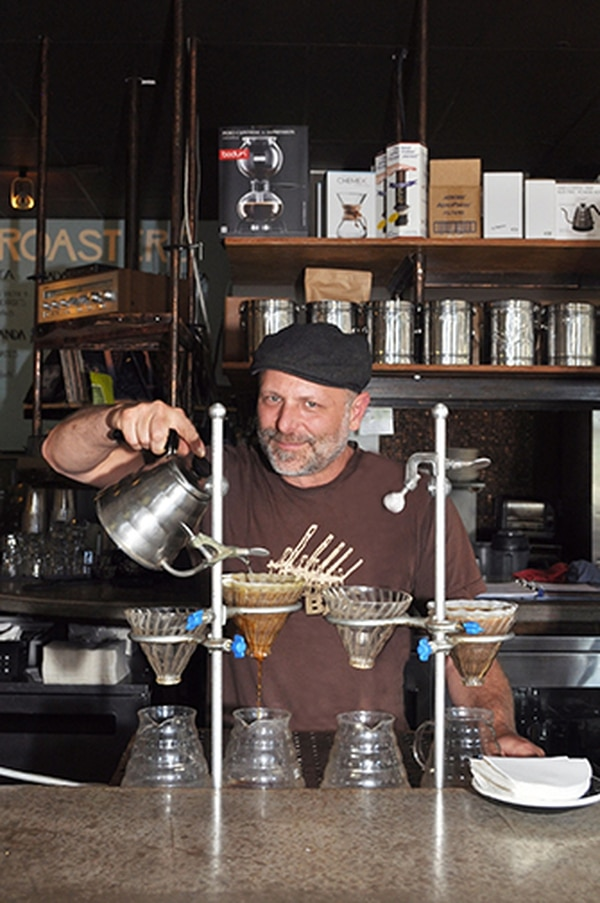 Todd Spitzer celebrates a pour-over at Iconik.