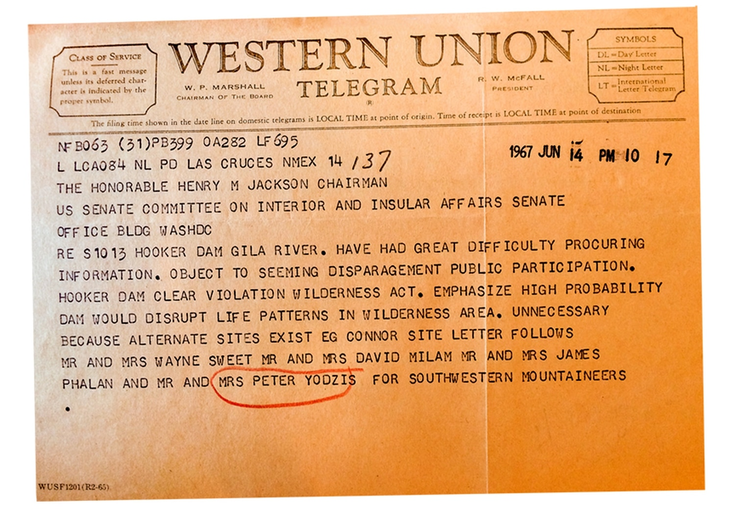 A telegram from a file in the National Archives in Washington DC.