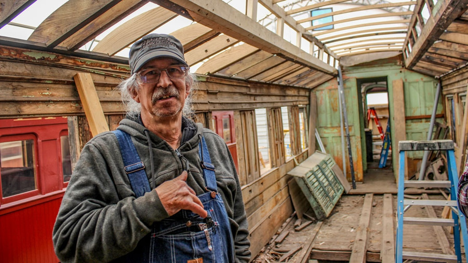Master carpenter Zell Olson saves cars like this sleeper from 1883 that later became Paycar F and was used to distribute wages to railroad workers.
