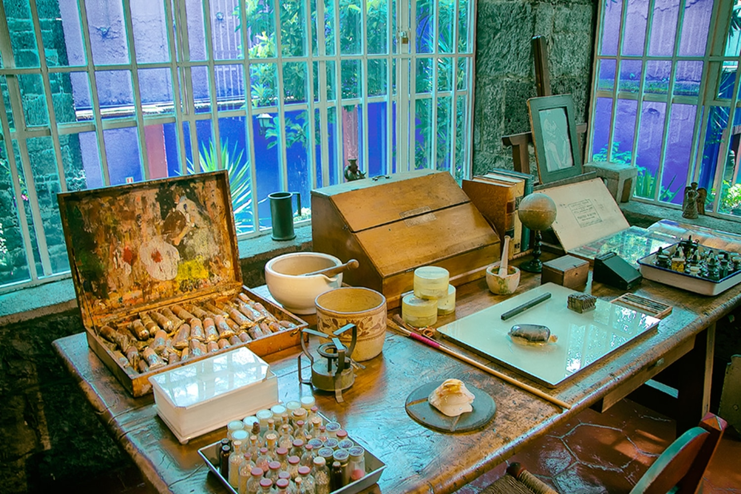 Kahlo's studio at Casa Azul in the Coyoacán district of Mexico City, as captured by Santa Fe photographer William Frej.