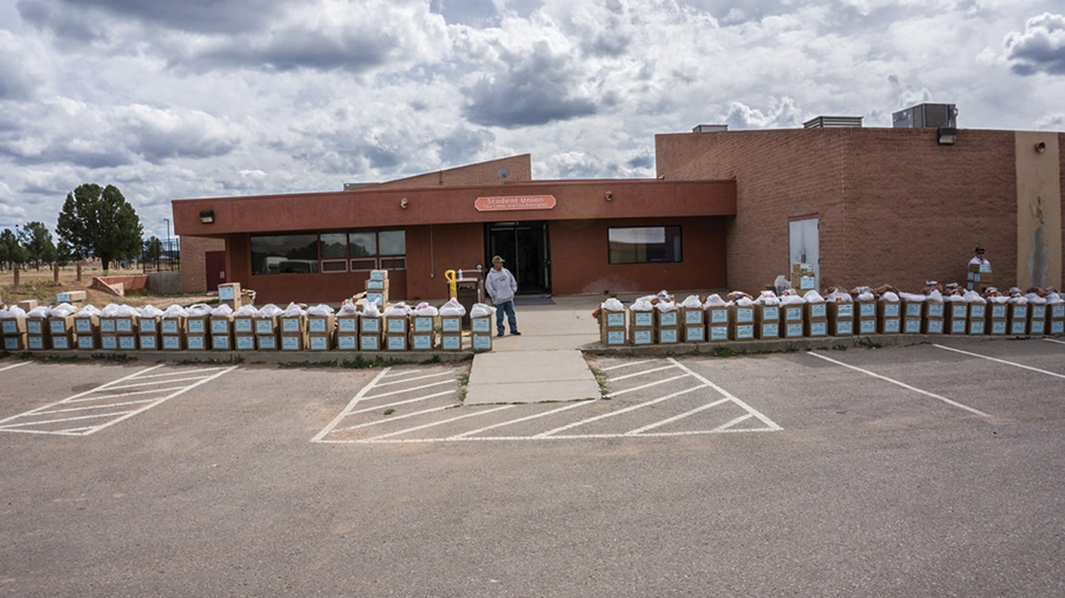 Supply boxes ready for pick-up at Diné College in Tsaile, Arizona.