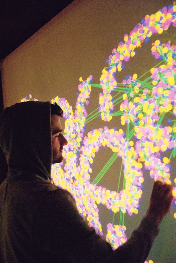 Pablo Byrne demonstrates the versatility of his digital spray paint installation.