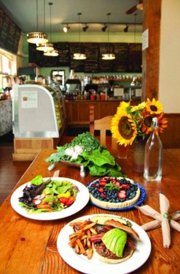 RFN burger, RFN green salad, blueberry and strawberry tart Photo: Joy Godfrey