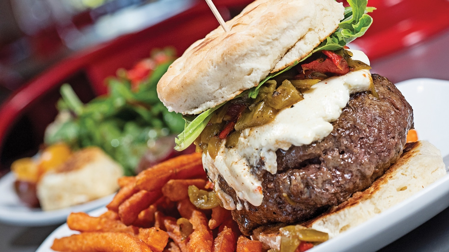 The Hollar: Green chile and local goat cheese burger with sweet potato fries