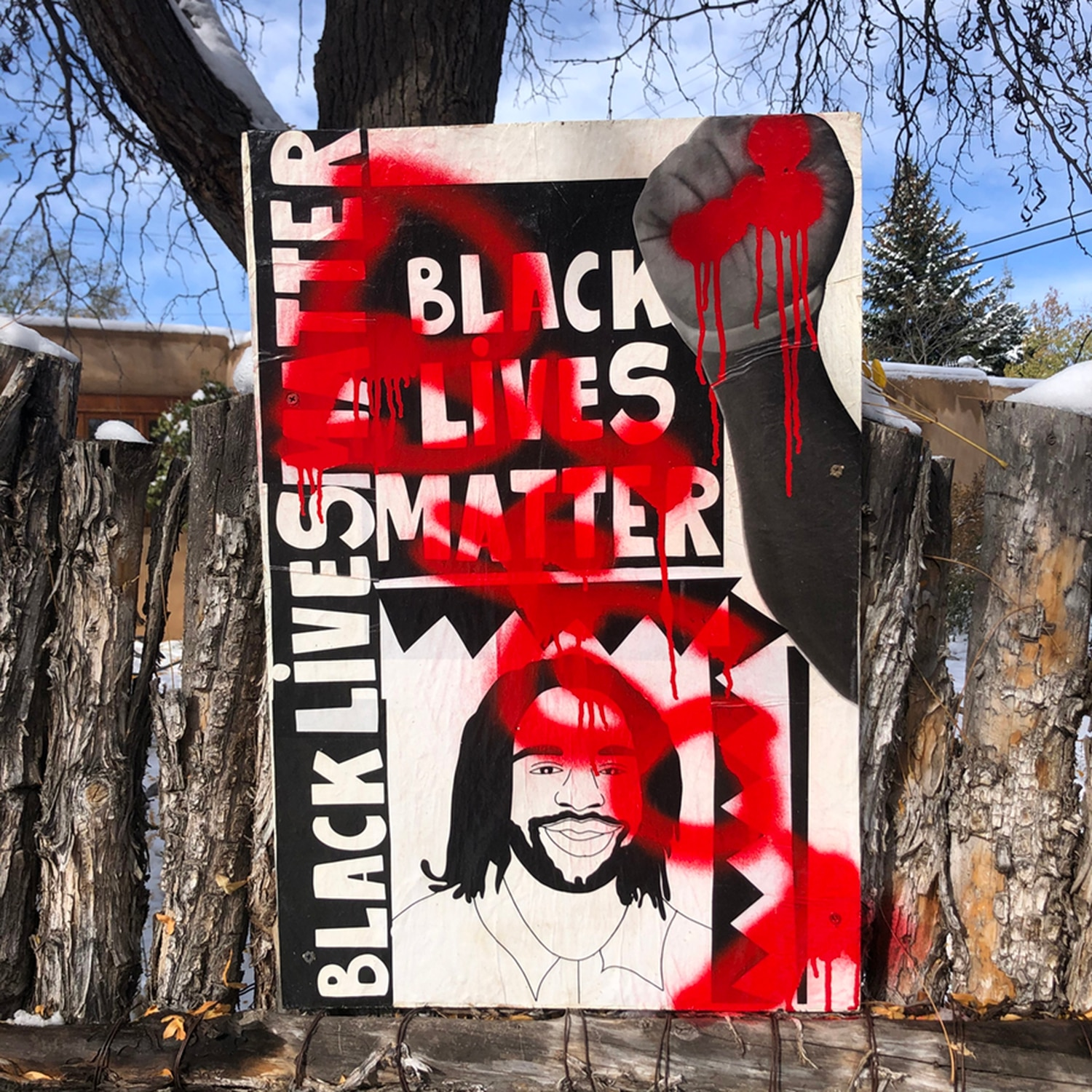 Black Lives Matter posters at five residences in the Casa Solana neighborhood were vandalized overnight. Photo Credit: Samia Van Hattum.