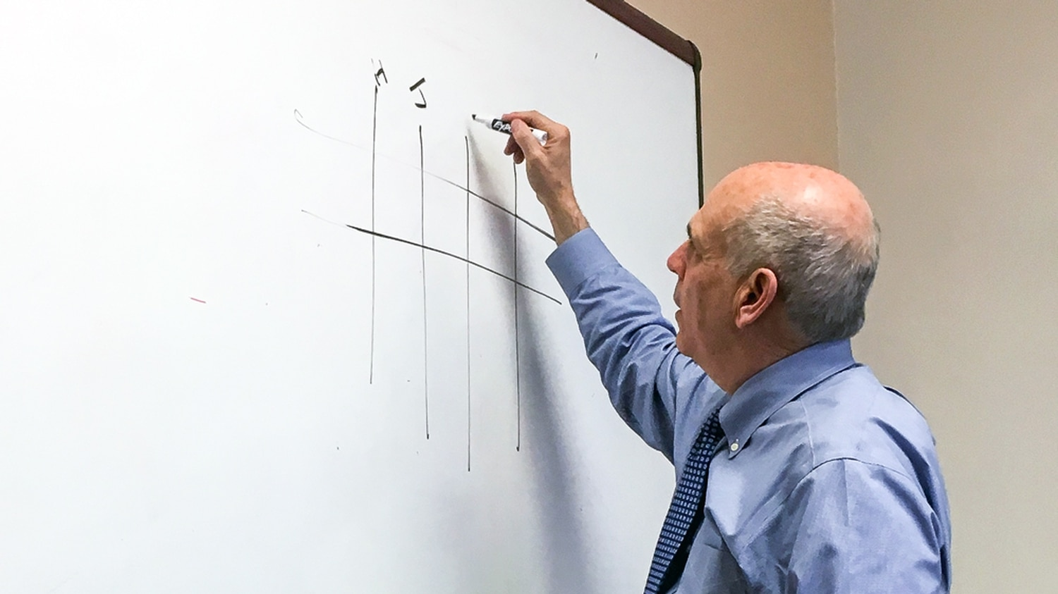 Mayor Alan Webber uses the whiteboard to discuss his way of thinking about the city's priorities.