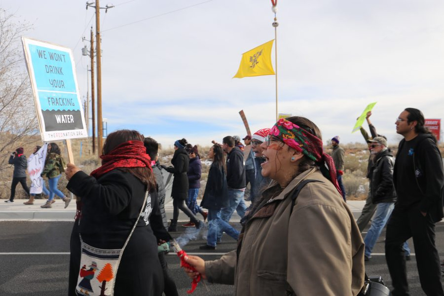 Protesters marched down Highway 14 to protest new oil and gas leases.