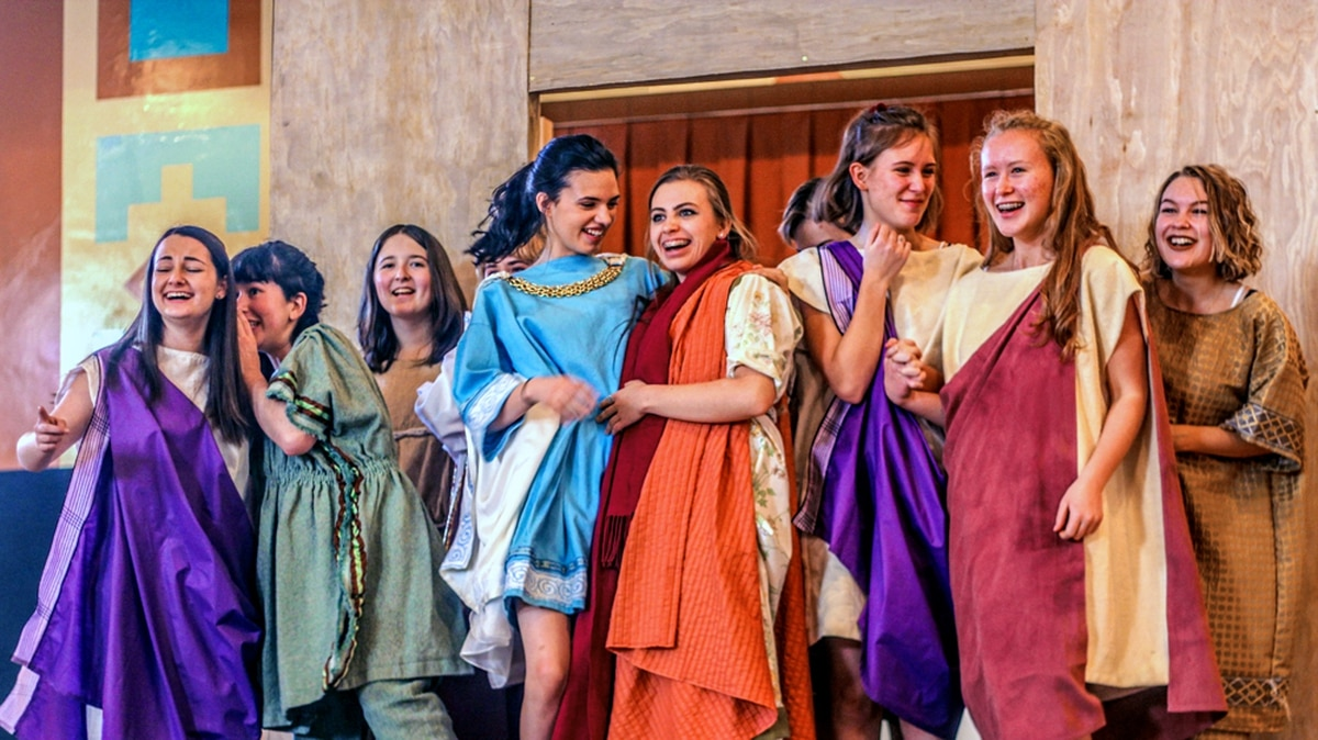 The titular Lysistrata (center, played by Myriah Duda) leads her fellow Grecian ladies to forego the you-know-what, all in the name of peace. Try not to blush too much.
