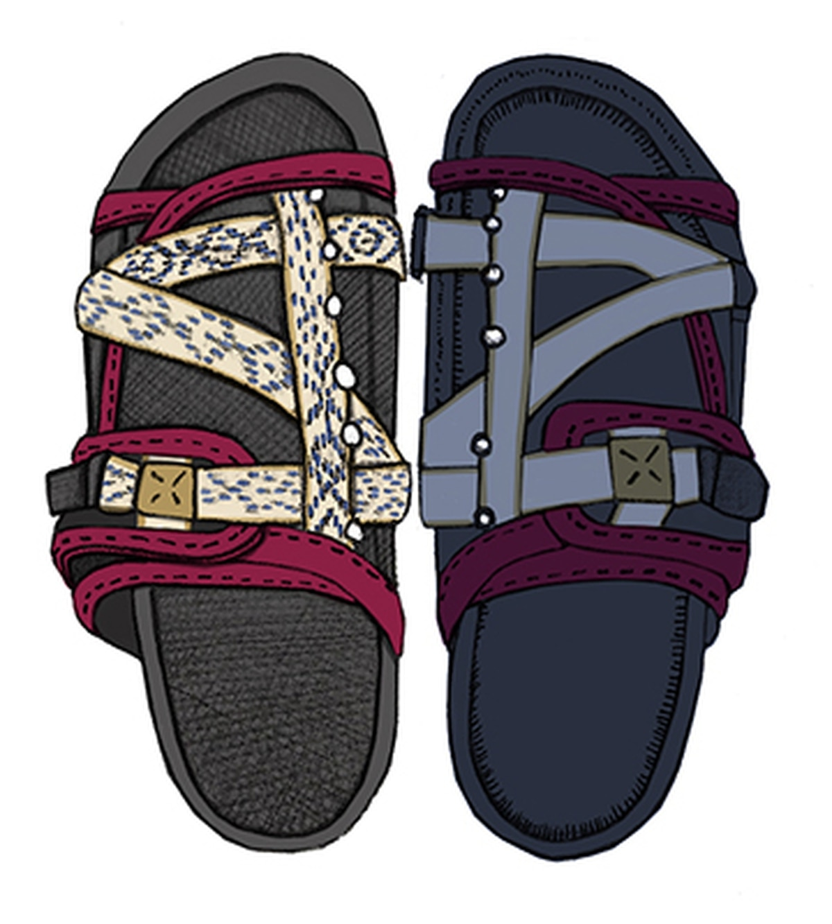 You'll see footwear, like these Christo FIL Tokyo Exclusive sandals, on Shelby Street.