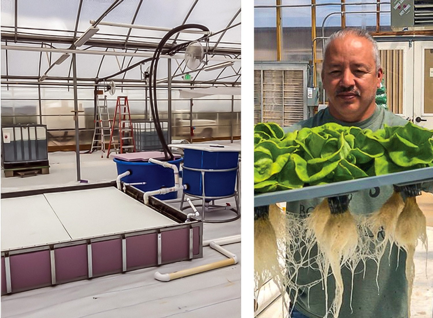 LEFT: Students learn small and commercial systems at the facilities in SFCC's Trades and Advanced Technologies Center. RIGHT:Greenhouse technician and instructor Abey Torrez came to agriculture after serving as an Army master sergeant for 25 years.