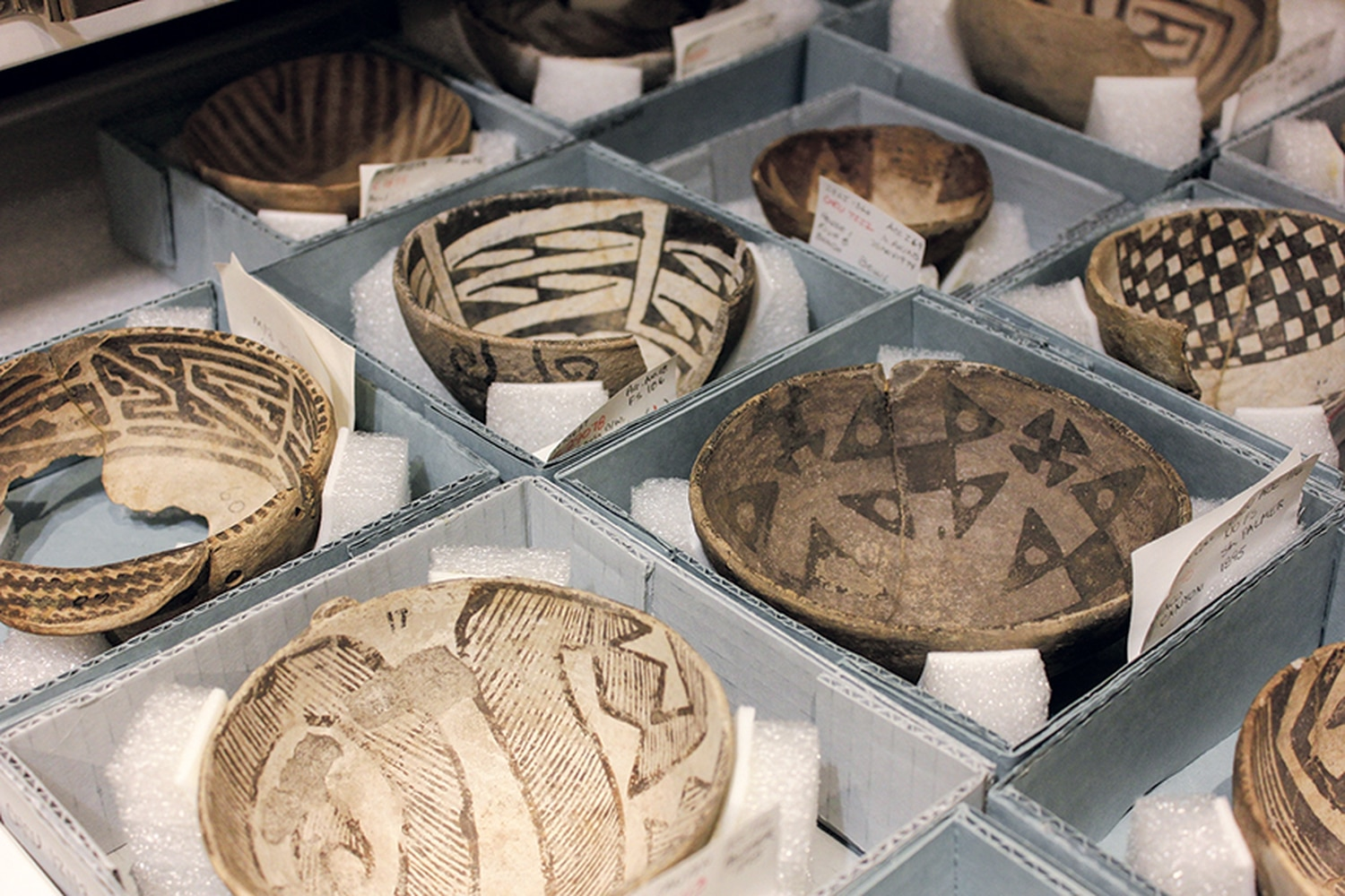 Bowls recovered from Chaco Canyon's communities show a wide range of decorative designs in the National Park Service collection, stored in Albuquerque