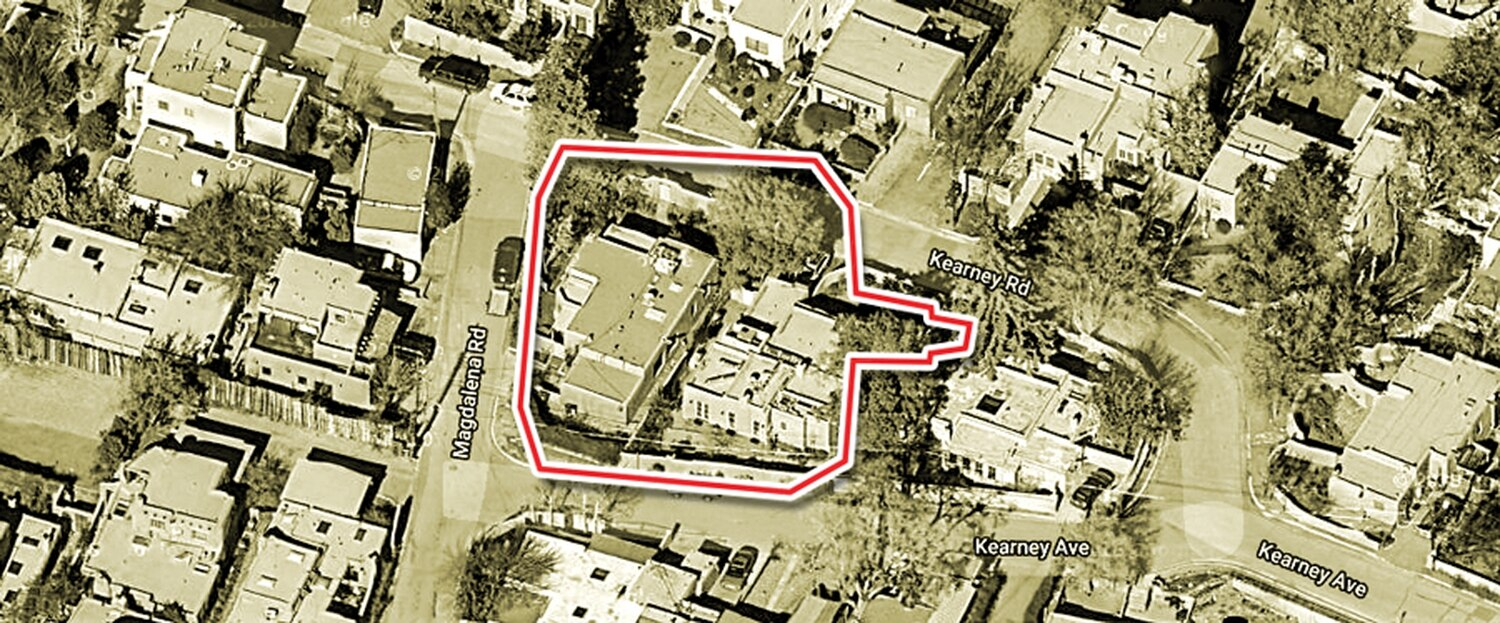 The red line shows the approximate boundaries of the former graveyard.
