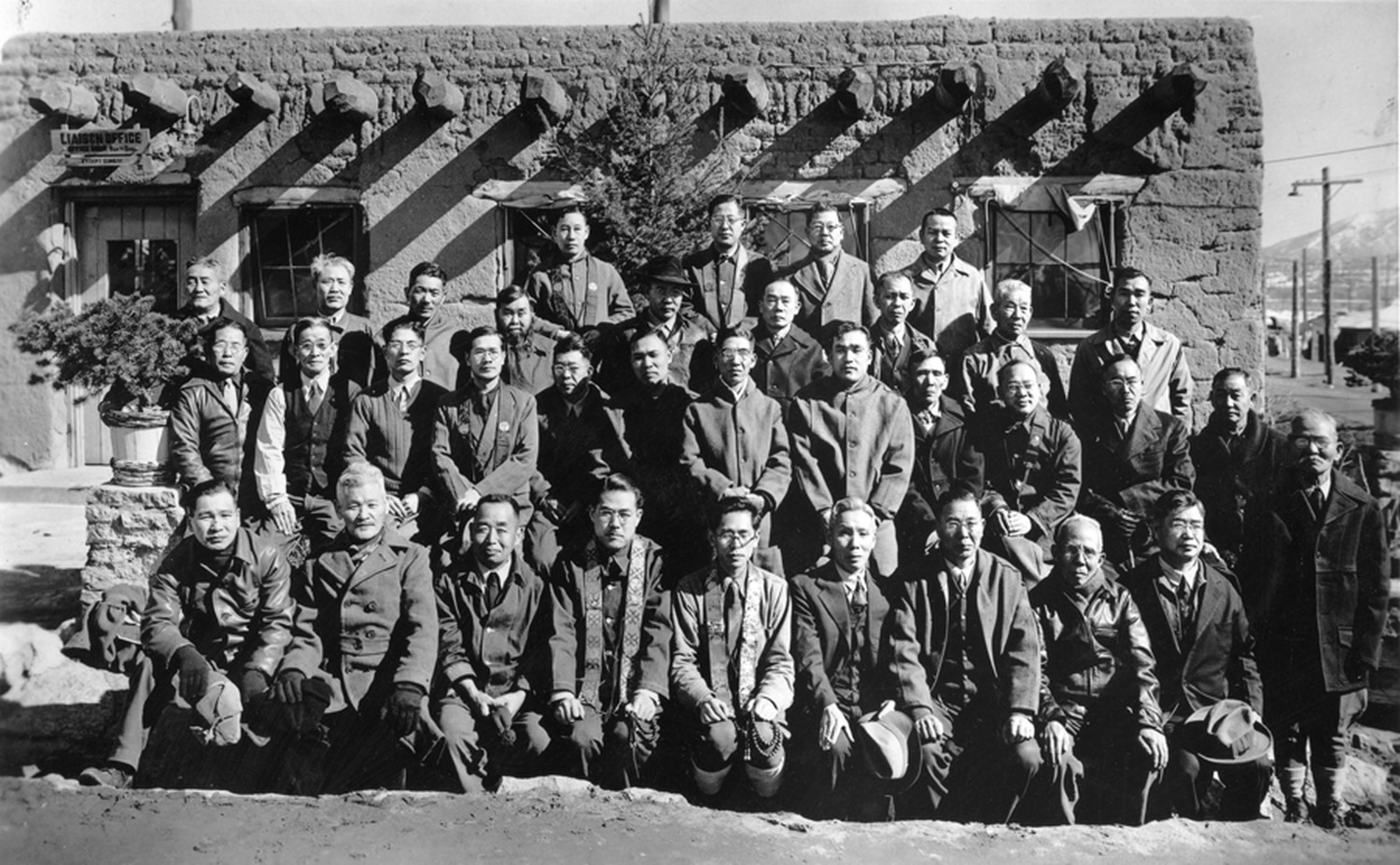 Japanese-Americans pose at the Santa Fe Internment Camp in 1944.