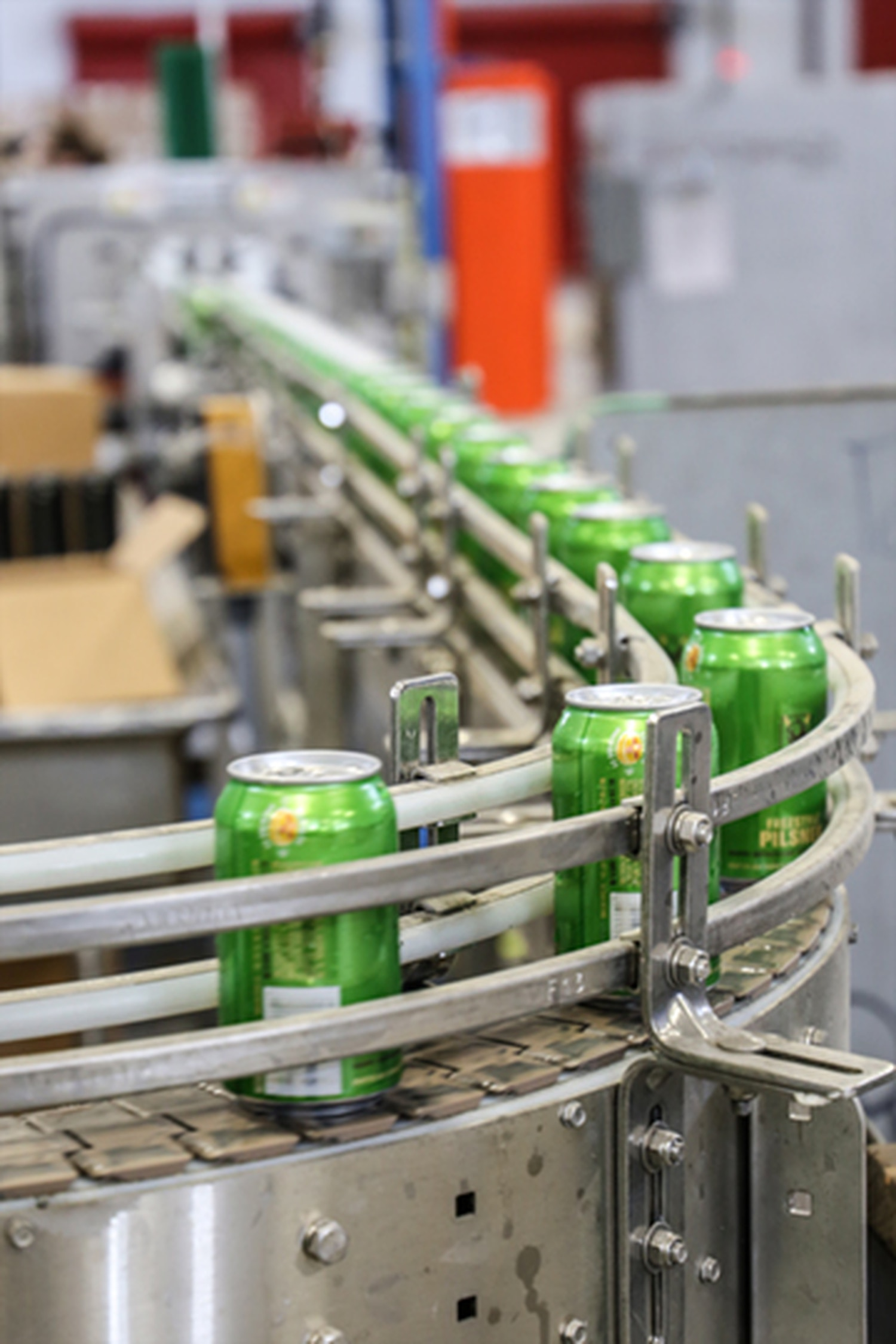 Over 100 cans are filled per minute on the canning line.