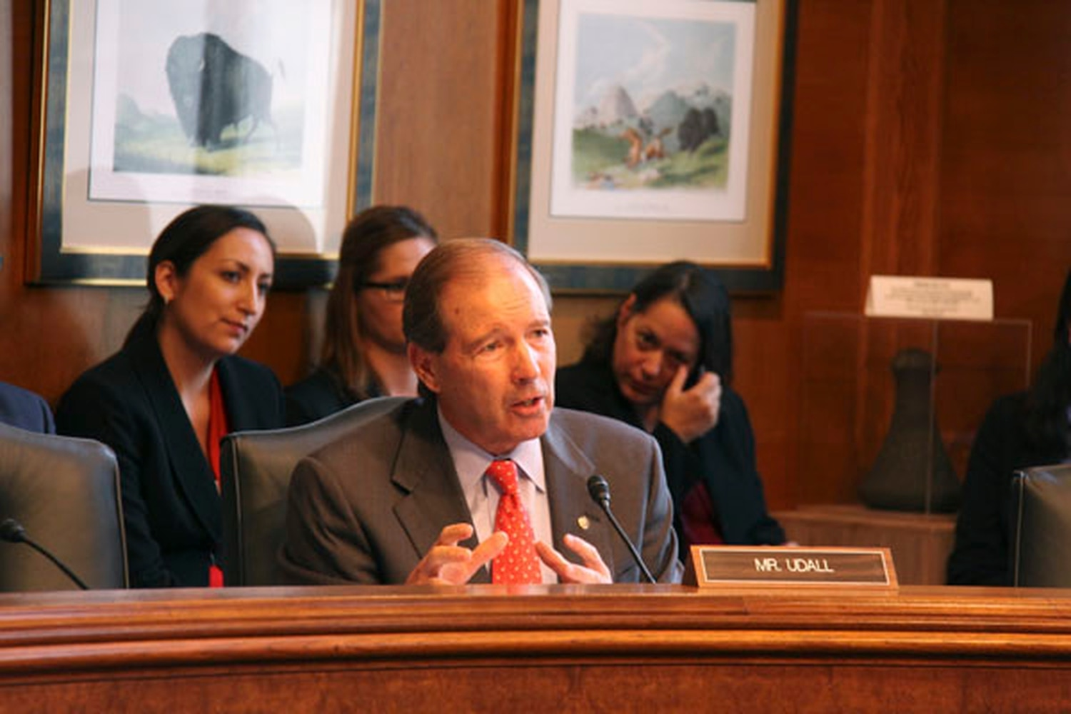 US Sen. Tom Udall, D-NM, testifies at the confirmation hearing for former University of New Mexico Law School Dean Kevin Washburn as assistant secretary for Indian Affairs at the US Department of the Interior.