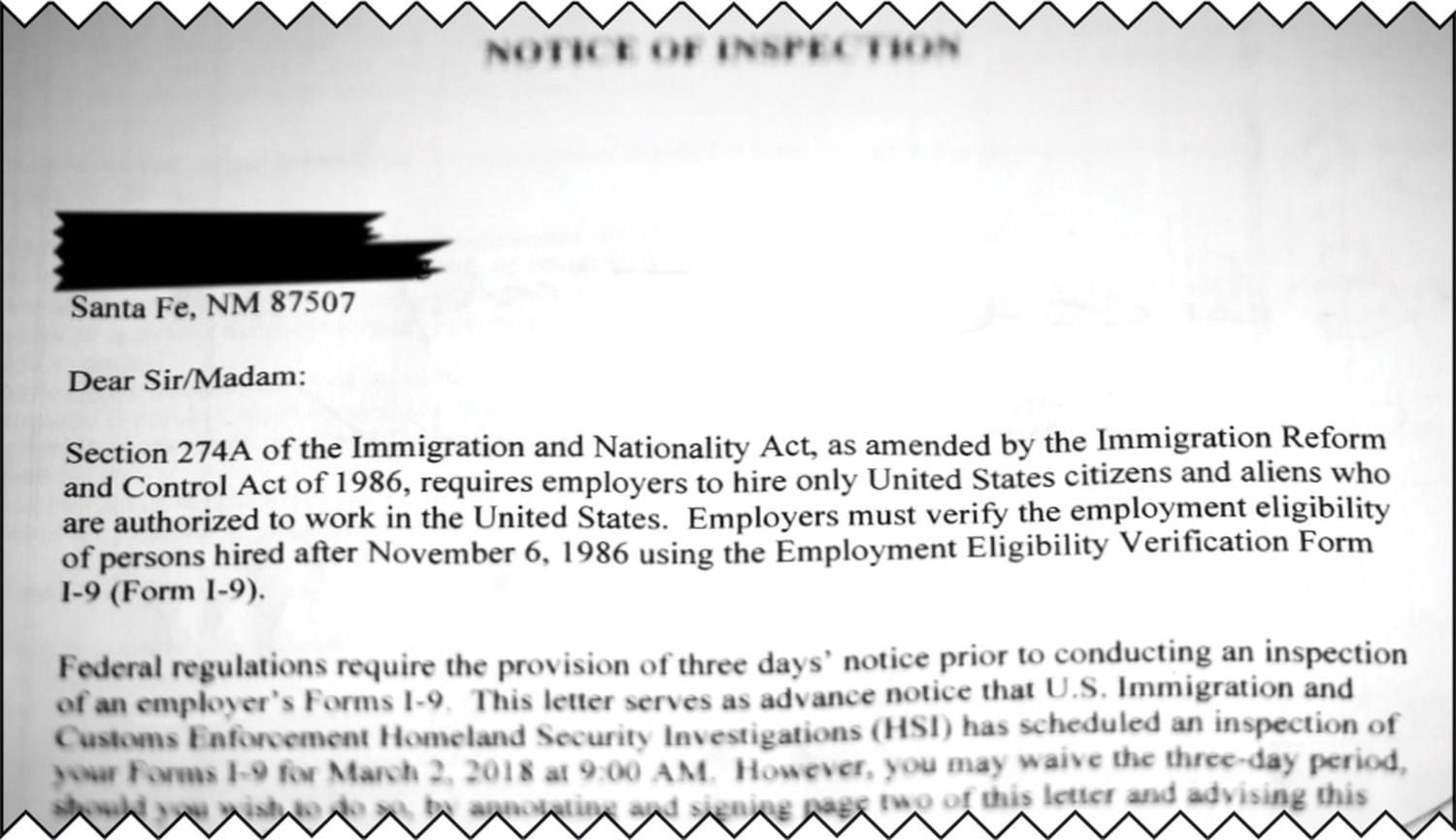 "ICE has delivered at least 63 ""notices of inspection"" like this one in New Mexico this spring."