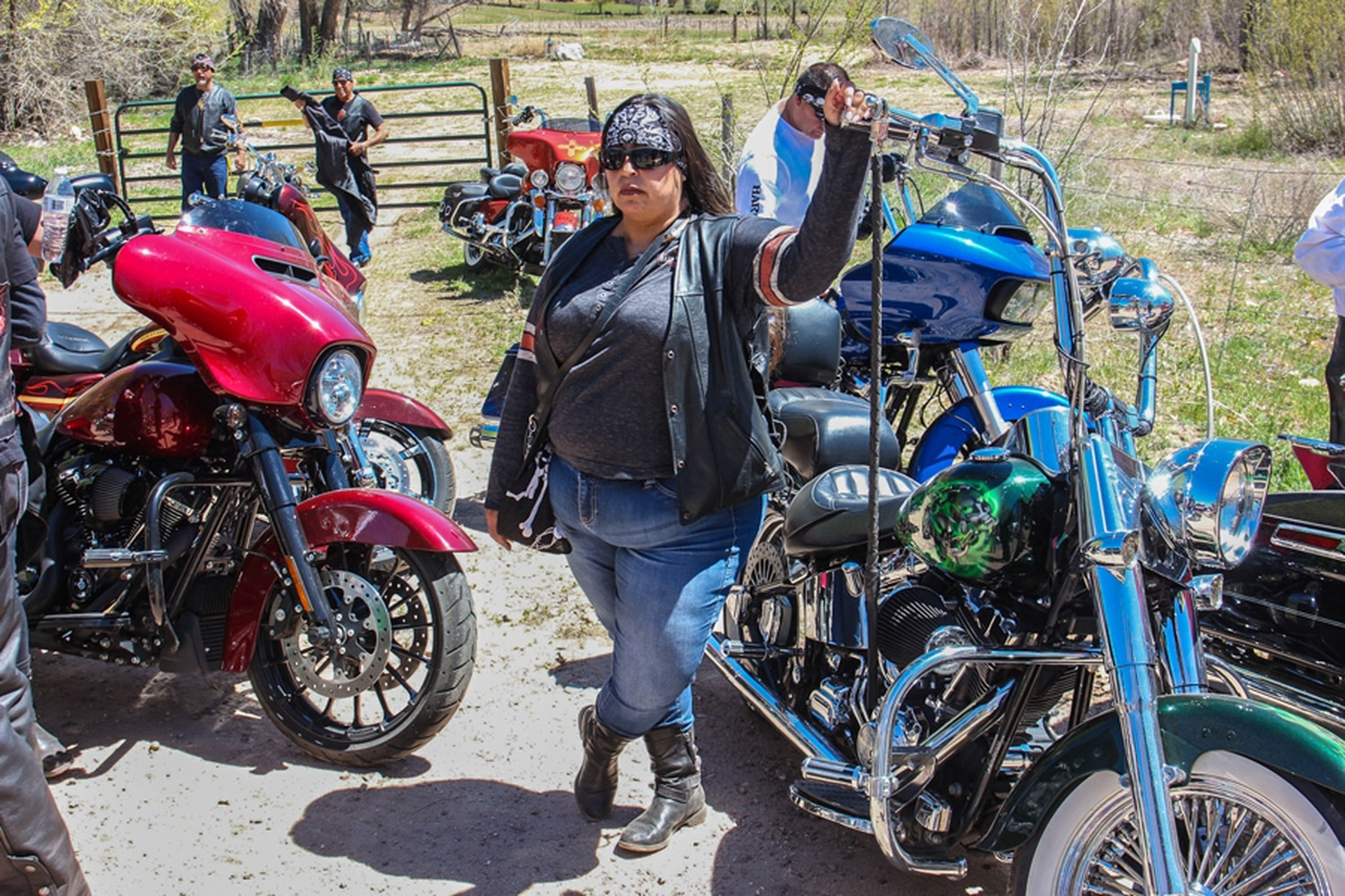 Dubie Smith, born and raised in Santa Fe, rode in with her husband and 18 others in support of a friend.