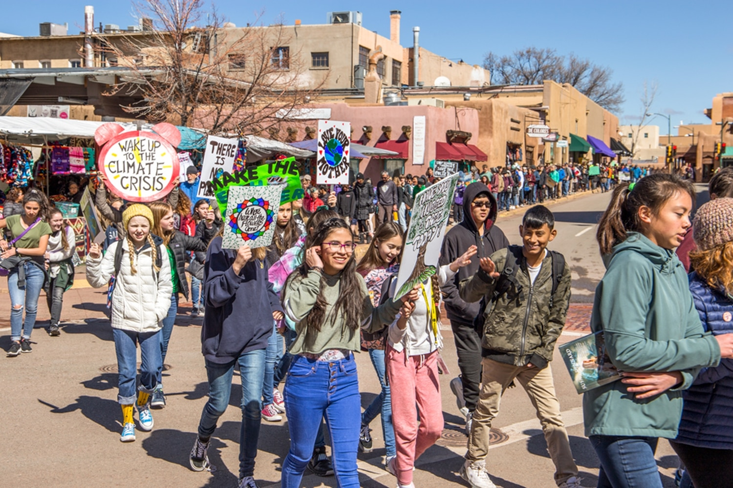 Students from Santa Fe marched from the Plaza to the Roundhouse on March 15 to be a part of the youth Global Climate Strike.