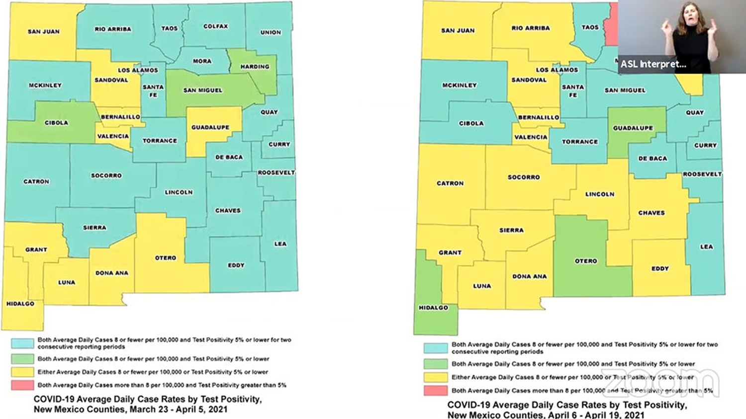 The map on the left shows counties' statuses two weeks ago compared with today's update to the public health red-to-green framework. State officials plan to introduce changes to the metrics used in two weeks.