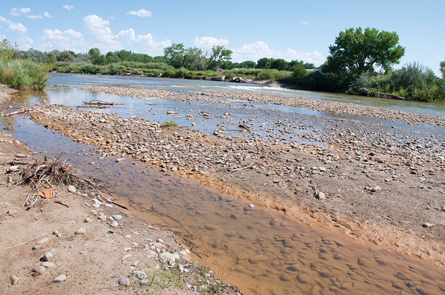 Orange-tinged banks of the Animas River in Aztec are a visible marker of an ongoing problem.