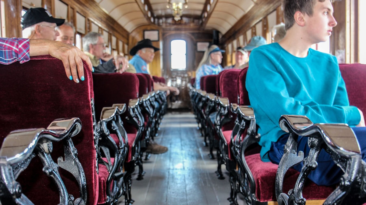 Historic restoration of passenger cars includes the nickel-plated hand rails and velvet upholstery. This car was pulled by the No. 168 engine on May 26, 2021, opening day out of Antonito, Colorado.