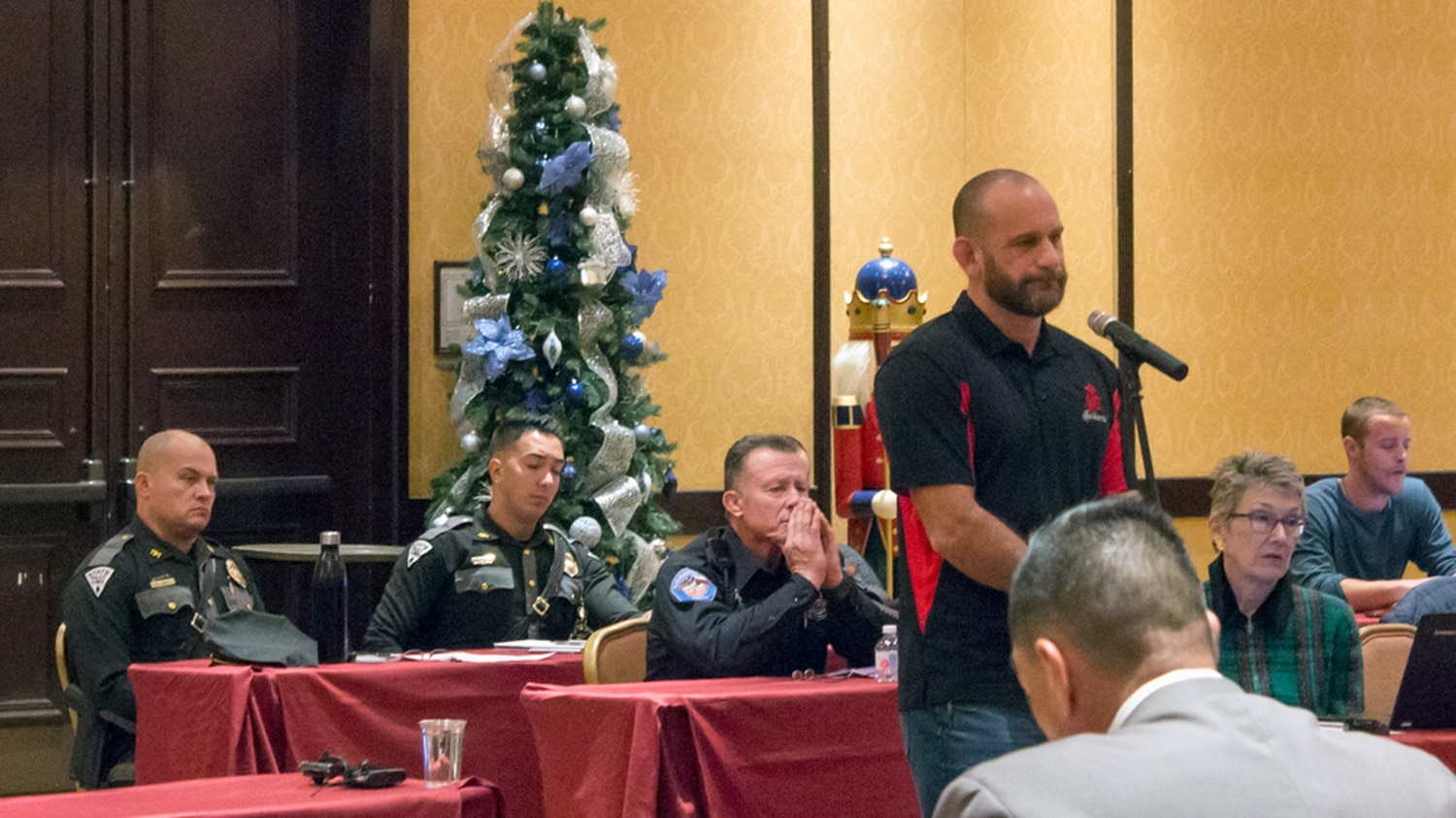 Greg Jackson makes a presentation to the New Mexico Law Enforcement Academy Board | Photo by Aaron Cantu