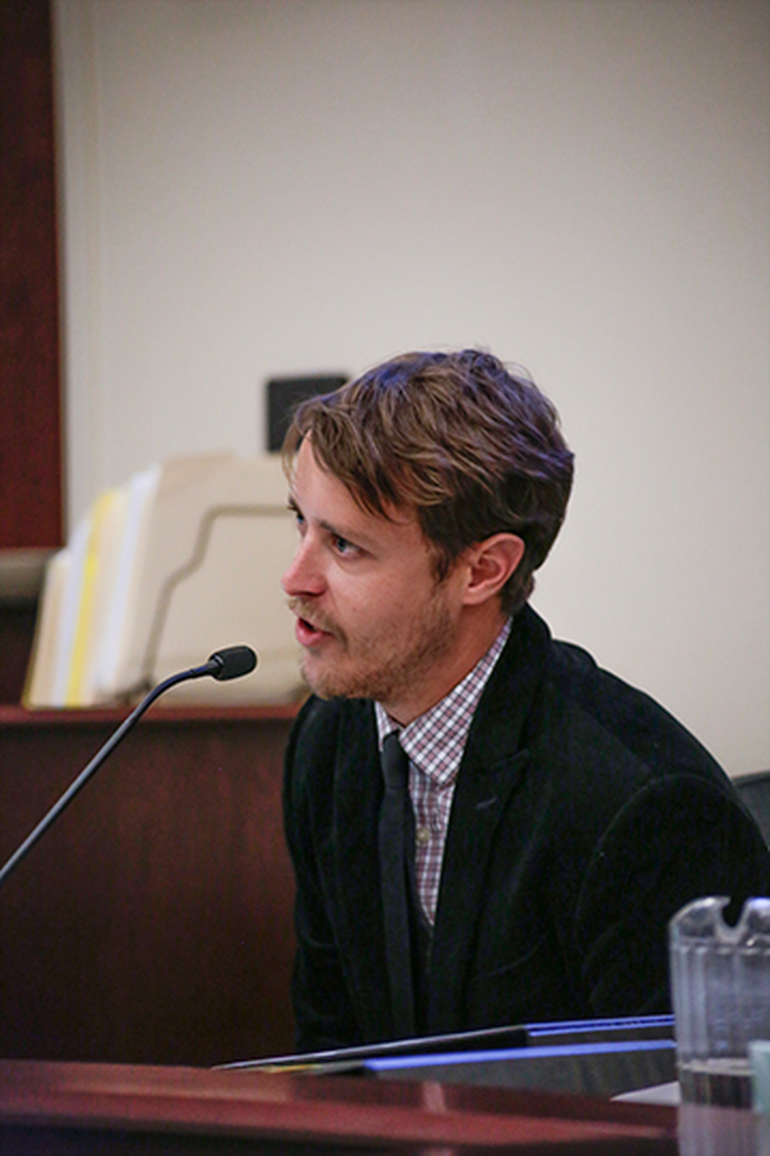 Justin Horwath, a former SFR staff writer who now works for The Santa Fe New Mexican, testifies in court.
