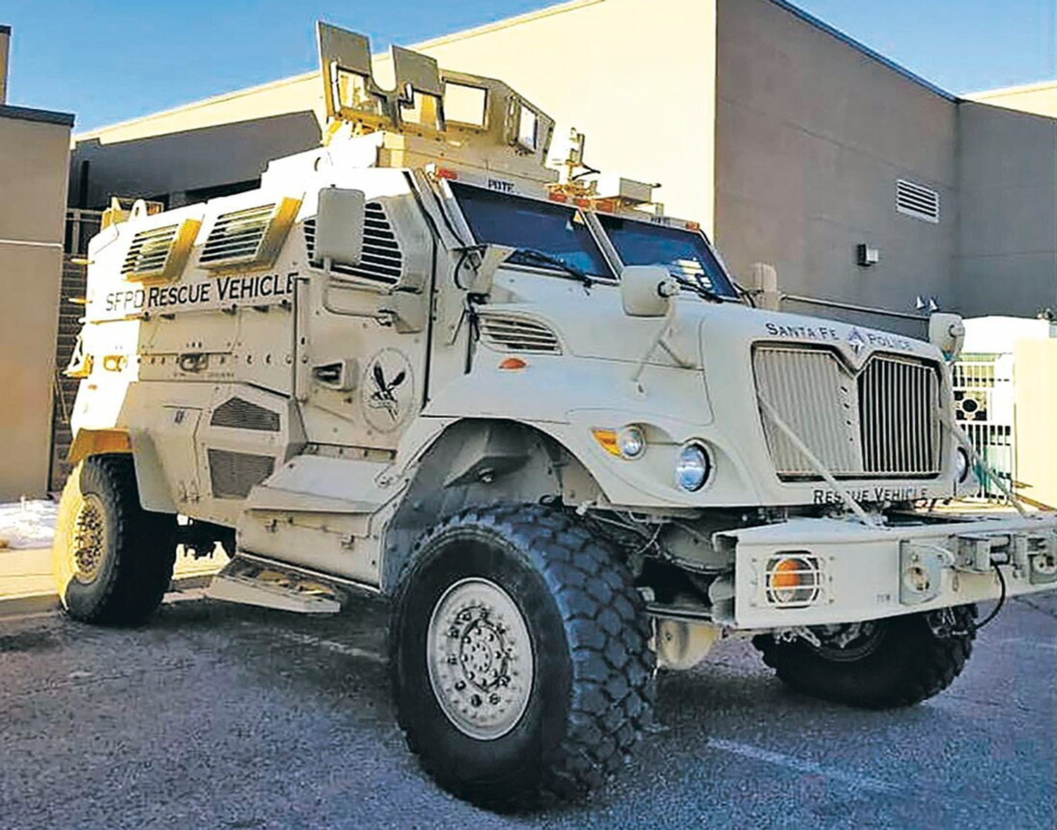 One Santa Fe city councilor is displeased that the city police chief promised to demilitarize by getting rid of the department's Mine Resistant Ambush Protected vehicle, only to ship it 50 miles down the road to another department.