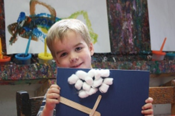 Under the Reggio Emelia educational philosophy, which Santa Fe nonprofit La Casita Preschool follows, teachers encourage children such as this one's propensity for art through hands-on, organic learning.Credits: Paige Hurtig-Crosby
