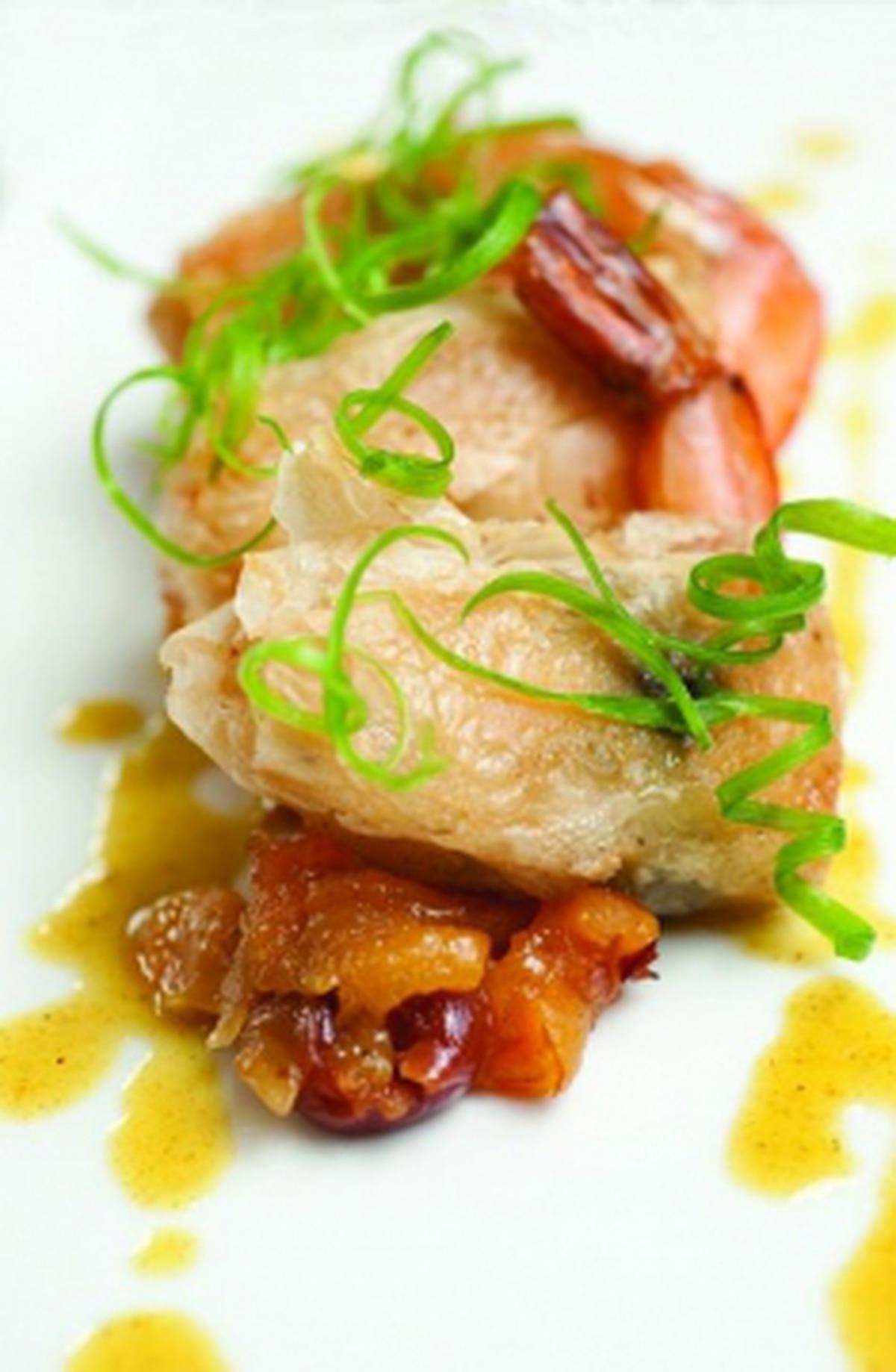 Basil-wrapped shrimp Photo: Joy Godfrey