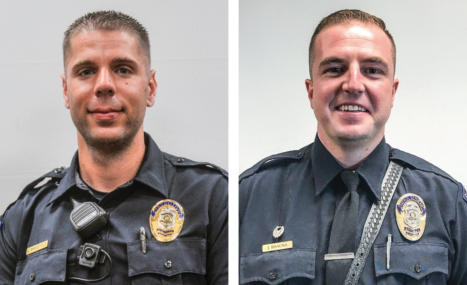 Officers Luke Wakefield (left), and Jeramie Bisagna (right), who shot at Benavidez, now hold the ranks of detective and sergeant, respectively.
